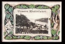 c1905 D.R.G.M. art nouveau Rhine River Germany 10 foldout novelty postcard