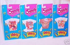 4x Hasbro Sindy Doll Print Fashion Full T-Shirt Outfit Collection Set Moc`93!