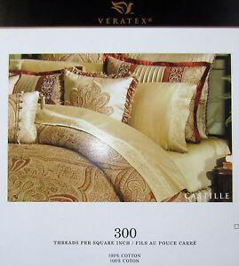 VERATEX CASTILLE GOLD Brown FULL DOUBLE SHEET SET SATIN 300 THREAD COTTON 15 NIP