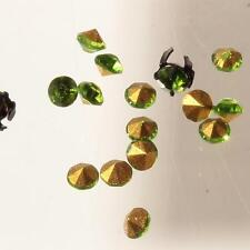 (18) 4mm Czech vintage foiled green round faceted glass rhinestones