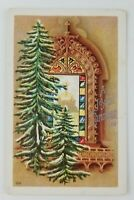 Postcard A Joyful Christmas Tree Church Scene