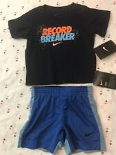 Nike T Shirt Shorts Set 2 piece Boys Short Sleeve 12M Binary Blue & Blue Jay