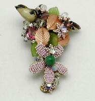 STANLEY HAGLER N.Y.C. Hand Wrapped Beaded Takahashi Bird Brooch Pin