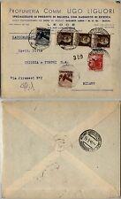 LUOGOTENENZA 30c(516)+10c(543)+3L(553)+10L(558) su busta Lecce->Milano 12.4.1946