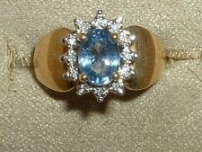 LOVELY 14K  CEYLON SAPPHIRE DIAMOND RING PRINCESS DI INSPIRED