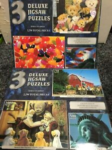 6 Deluxe Sure-Lox Jigsaw Puzzles 5 New Uniontown Liberty Eagle Bears Beans