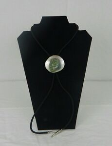 Blue Gray Dyed Agate Stone On Mother Of Pearl Shell Men's Bolo Tie Necklace