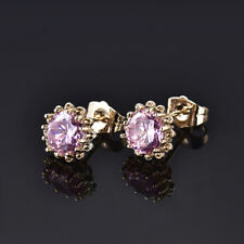 HUCHE Retro Lovely Pink Sapphire Diamond Flower Gold Filled Lady Party Earrings