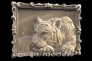 3D Model STL for CNC Router Carving Artcam Aspire Tiger Bengal Animal 080