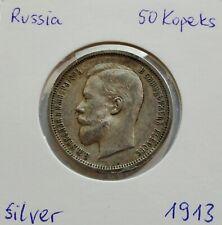 ORIGINAL Russian Empire Nicholas II RUSSIA 50 Kopeks 1913 SILVER DETAILS!