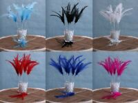 Diamante Feather Bunch x 6 Stems Choice Of 10 Colours Cake Toppers Or Weddings