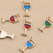 Red / Enamel Charm Wine Glass Pendant Beads Jewelry Making Small Pendants V1066