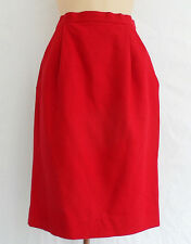 Givenchy Red Wool Pencil Skirt Size 6/36 Pleated Front