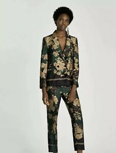 ZARA CO ORD SUIT Green Gold Floral Printed Double Breasted Blazer & Pants