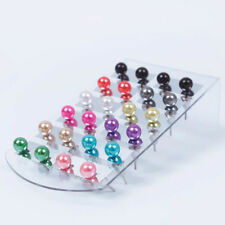 12 Pairs Women Fashion Charm Style Party Beauty Pearl Round Ear Stud Earring Set