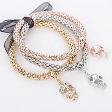 Ladies 3 Piece Rose Gold/Silver/Gold Effect Bracelet Set & Skull Diamante Charms