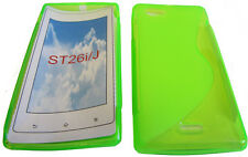 TPU Rubber Pattern Gel Case Protector Cover For Sony Xperia J ST26i ST26 GREEN