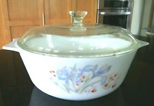 Pyrex Glassware Casserole Dish Round Covered Lid 2 Qt White Dutch Oven Pot Cook