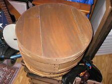 Vintage Rare Wood Primitive Cloth Lined Hat / Cheese Box 15� Wide x 6 ½�Deep