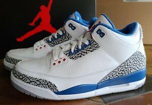Nike Air Jordan III 3 Retro White True Blue 136064104 2011 size 10.5 NEW in Box