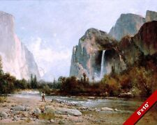 Yosemite Park Fly Fishing Painting America Art 8X10 REAL CANVAS GICLEE PRINT