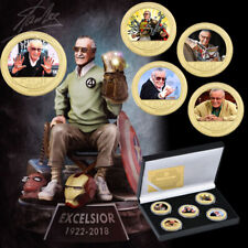 Remember Stan Lee Gold Commemorative Coin Fans Souvenir for Collection with Box