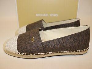 NIB $178 MICHAEL KORS Size 9.5 Women's Brown Mini MK KENDRICK Espadrille Flat