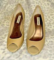 Steve Madden Pyper Beige Cuir Verni à Enfiler Bout Ouvert Aiguille Shoes 10 M