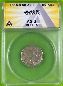 1916 D 5c Buffalo Nickel ANACS AG3 Details (340)