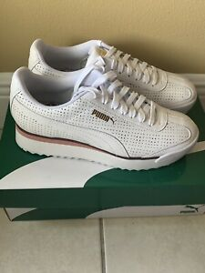 Puma Roma Amor Perforated Tennis Shoes Sneakers White Tan 8.5