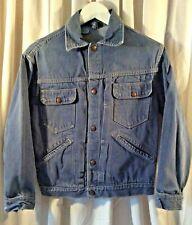 Vintage Roebucks Boy's Large Pleat-Front Selvedge Blue Jean Denim Jacket Vguc