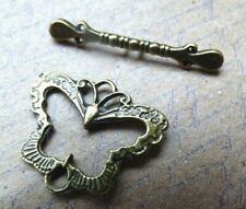 Butterfly toggle clasp set three sets bronze effect