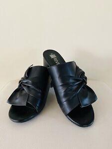 Rivers Women's Heels Size 40 Black Twist Bow Mules Riversoft Block Heel