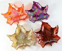Vintage LOT of 4 - AKCAM TURKISH GLASS Maple Leaf Salad Plates Fall Thanksgiving