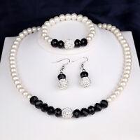 LC_ Donna Perle finte collane orecchini bracciale Set di Gioielli Elegante festa