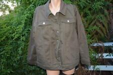 beme Coloured Denim Jacket Khaki Size 24 Stud Trim & Pocket Detail