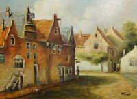 unleserlich signiert - TOP -Gemälde: NORDDEUTSCHE KLEINSTADT IM 19. JAHRHUNDERT