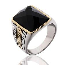 Mens 316L Stainless Steel Baguette Black Onyx Gemstone Finger Rings Celtic Band