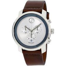 Movado Men's Watch Bold Quartz Chrono Silver Dial Brown Leather Strap 3600465