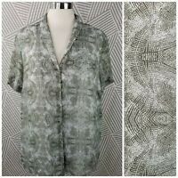 Coldwater Creek Plus size 1X 18 Boho Tunic Top Blouse layered Button Up Light