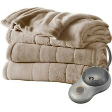 Sunbeam Electric Heated Plush Blanket Mushroom Twin
