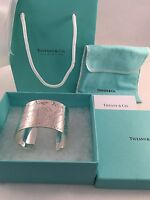 Tiffany & Co Sterling Silver Notes Wide Cuff Bangle Bracelet. Small. Rare