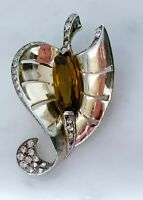 Vintage Sterling Heart Shaped Leaf with Stone Coat Clip Pin Black Friday Special