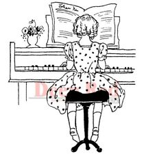 Deep Red Stamps Piano Solo Rubber Cling Stamp