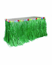 Green Fringe GrassTable Skirt Decoration Hawaiian Flower Themed Luau Party Decor