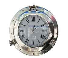 "Ship's Cabin Porthole Clock Chrome Finish 12"" Aluminum Hanging Wall Decor New"