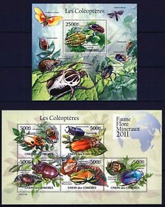 COMORES 2011 LES COLEOPTERES BUGS INSECTS BUTTERFLY DRAGO FAUNA FLORA STAMPS MNH
