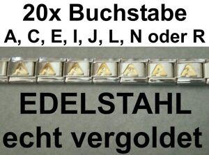 Je20x Letter A C E I J L N R Gold Plated Stainless Steel For Bracelet Nomination