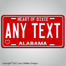 RED  Alabama ANY TEXT Personalized Custom Text Aluminum Vanity License Plate Tag