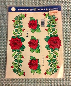 Vintage Handpainted Decals By DECORCAL A-41 Roses 1980 New Old Stock
